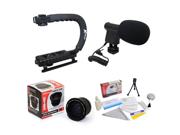 Extreme Shooters Kit Featuring Opteka HD 0.35x Wide Angle Panoramic Macro Fisheye Lens Opteka X GRIP Professional Camera Handle Opteka VM 8 Mini Shotgun Micro