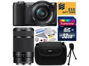 Sony Alpha A5000 20.1 MP Interchangeable Lens Camera with 16-50mm & 55-210mm F4.5-6.3 OSS Lens with 32GB Class 10 Memory Card + Hard Shell Carrying Case + Camera Cleaning Kit + Bonus $50 Gift Card