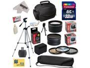 Ultimate Accessory Kit for Sony FDR-AX100 Camcorder with 32GB SDHC Card, Card Reader, Opteka NP-FV70 2500mAh Battery, 3 Piece Pro Filter Kit , 0.43x + 2.2x  Lens, Carrying Case, Tripod, $50 Gift Card