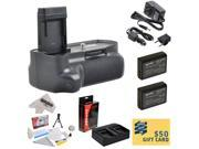 Professional Vertical Battery Grip With Sure Grip Technology For the Canon EOS Rebel T3 T5 1100D 1200D Kiss X50 Digital SLR Cameras Includes 2 Extended Life Canon LP-E10 LPE10 Replacement Battery Pack