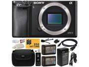 Sony Alpha a6000 24.3 MP Mirrorless Interchangeable Lens Camera - Body Only ILCE6000 with x2 NP-FW50 Battery + Carrying Case + Home Wall Charger with Car and European Adapter + $50 Gift Card