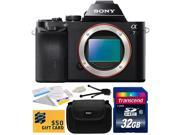 Sony a7 Full-Frame 24.3 MP Mirrorless Interchangeable Digital Lens Camera - Body Only (ILCE7) with Amateur Accessories Bundle Kit includes 32GB Class 10 SDHC Me