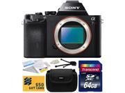 Sony a7R Full-Frame 36.4 MP Mirrorless Interchangeable Digital Lens Camera - Body Only (ILCE7R) with Starter Accessories Bundle Kit includes 64GB Class 10 SDHC