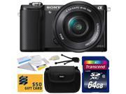 Sony Alpha A5000 20.1 MP Interchangeable Mirrorless Lens Camera with 16-50mm OSS Lens ILCE5000L with 64GB Class 10 SDHC Memory Card + Carrying Case + Camera Lens Cleaning Kit + Bonus $50 Gift Card
