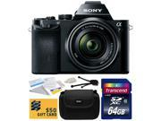 Sony a7K A7 Full-Frame DSLR 24.3 MP Interchangeable Digital Lens Camera FE 28-70mm f/3.5-5.6 OSS Lens with Starter 64GB  Memory Card + Hard Shell Carrying Case + Camera Cleaning Kit + $50 Gift Card