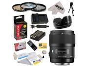 Sigma 340306 35mm F1.4 DG HSM Lens for The Nikon D40 D40x D60 D3000 D5000 - Includes 67MM 3 Piece Pro Filter Kit (UV, CPL, FLD) + Flower Lens Hood + Replacement