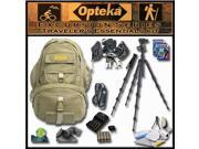 Opteka's Advanced Traveler's Essentials Kit by Opteka Package Includes Excursion Series C950 Full-Size Waterproof Canvas Backpack, Heavy Duty Tripod and Monopod