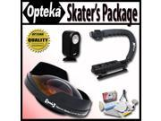 "Opteka Deluxe ""Skaters"" Package with Opteka 0.3X Ultra Fisheye Lens, X-Grip Handle & VL-20 LED Video Light for Canon GL2, VIXIA HF G10, S10, S100, S11, S20, S200, S21, S30, LEGRIA HF S10, S11, S21"