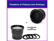 3.5X HD Professional Telephoto lens & 0.35x HD Super Wide Angle Panoramic Macro Fisheye Lens For Nikon D700, D300, D200, D100, D90, D80, D70, D60, D50, D40, D40