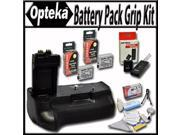 Opteka Battery Pack Grip / Vertical Shutter Release for Canon EOS Rebel T2i T3i T4i T5i DSLR Digital Camera with 2 Extra LP-E8 Extended Life High Capacity Batteries Wireless Remote and Cleaning Kit