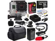 GoPro HD Hero3 Hero 3 Silver Edition (CHDHN301) with 16GB MicroSD, Battery, Charger, European Adapter, Action Grip Handle, Case, HDMI Cable, Floating Strap, Tripod Adapter Mount, Cleaning Kit