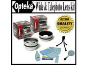 Opteka 0.45x Wide Angle & 2.2x Telephoto HD2 Pro Lens Set for Sony DSR-PD170 PD150 VX2100 Digital Camcorder
