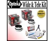 Opteka 0.5x Wide Angle 2x Telephoto HD2 Lens Set For Panasonic VDR M53 VDR M55 and VDR M95 Digital Camcorders