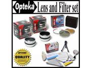 Opteka HD2 Professional Lens Filter Set with 2X Telephoto Lens 0.5X Wide Angle Lens 3 Piece Filter Kit and Extras For Sony DCR PC105 TRV38 TRV33 TRV27 TRV25