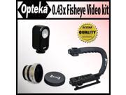 Opteka Extreme Action Video Photographer's Kit (Includes the Opteka 0.43x Super Fisheye Lens, X-GRIP Camcorder Handle and 3 Watt Video Light) for Hitachi DZ-BX3