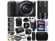 Sony Alpha A5000 20.1 MP Interchangeable Lens Camera with 16-50mm & 55-210mm F4.5-6.3 OSS Lens for with Sony HVL-F20M Flash + 64GB Memory + x3 NP-FW50 + 2.2x + .43x + Carrying Case + DSLR Backpack