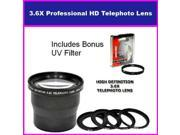 3.5X HD Professional Telephoto lens For Fujifilm S602 S7000 S20 6900 Includes Bonus 72MM Protective UV Filter Tube Adapter Included