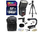 Sony NEX, Alpha, Cybershot, SLT Series Kit with Transcend 64GB Memory Card, Vivitar DF-293 Shoe Mount Auto Focus Bounce Zoom Swivel Flash for Sony (VIVDF293S), Tripod, Backpack, Condenser Microphone