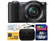 Sony Alpha A5000 20.1 MP Interchangeable Mirrorless Lens Camera with 16-50mm OSS Lens ILCE5000L with 32GB Class 10 SDHC Memory Card + Carrying Case + Camera Lens Cleaning Kit + Bonus $50 Gift Card