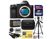 Sony a7 Full Frame 24.3 MP Mirrorless Interchangeable Digital Lens Camera Body Only ILCE7 with 64GB Memory Card NP FW50 Battery Tripod Carrying Case