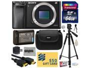Sony Alpha a6000 24.3 MP Mirrorless Interchangeable Lens Camera - Body Only ILCE6000 with 64GB Memory Card + NP-FW50 Battery + Tripod + Carrying Case + HDMI Cable + Camera Cleaning Kit + $50 Gift Card
