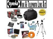 Opteka Ultimate Accessory package For Panasonic Lumix DMC-FZ40 Digital Camera, Package Includes 0.45 Wide Angle Lens, 2.2X Telephoto Lens, Piece Filter Kit, Ext