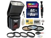 Package with Vivitar DF-293 Shoe Mount Auto Focus Bounce Zoom Flash for Sony (VIVDF293S), Transcend 8GB Memory Card, 3 Piece Lens Filters and Close-Up Macro Filter Kit, Cleaning Set for SONY