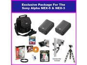Best Value Ultimate Accessory Package For The Sony Alpha NEX-3 & Sony Alpha NEX-5 Package Includes 16GB High Speed Error Free Memory Card, 2 spare 1500MAh Batte