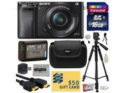 Sony Alpha a6000 24.3 MP Interchangeable Mirrorless Lens Camera with 16-50mm Power Zoom Lens with 16GB Memory Card + NP-FW50 Battery + Tripod + Hard Shell Carry