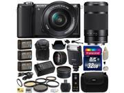 Sony Alpha A5000 20.1 MP Interchangeable Lens Camera with 16-50mm & 55-210mm F4.5-6.3 OSS Lens for with Sony HVL-F20M Flash + 32GB Memory + x3 NP-FW50 + 2.2x + .43x + Carrying Case + DSLR Backpack