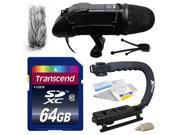 DSLR Video Studio Broadcast Interview Microphone with Transcend 64GBMemory Card Opteka X GRIP Action Sports Stabilizer Camera Handle Grip Camera And Lens for