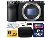 Sony NEX-7 NEX7 NEX7/B Compact 24.3 MP Mirrorless Interchangeable Lens Camera - (Body Only) with 64GB Class 10 SDHC Memory Card, Hard Shell Carrying Case, Cleaning Kit, Bonus $50 Gift Card