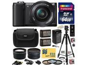 Sony Alpha A5000 20.1 MP Interchangeable Mirrorless Lens Camera with 16-50mm OSS Lens ILCE5000L (Black) with Professional Accessories Bundle Kit includes 64GB C