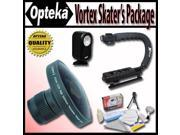 Opteka Deluxe Vortex Skaters Package with Opteka Platinum Series 0.2X HD Panoramic Vortex Fisheye Lens X GRIP Handle 3 Watt Video Light For Canon Elura