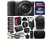 Sony Alpha A5000 20.1 MP Interchangeable Mirrorless Lens Camera with 16-50mm OSS Lens ILCE5000L with Sony HVL-F20M External Flash + 64GB Memory Card + x3 NP-FW50 Battery + Charger + $50 Gift Card