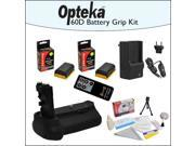 Battery Pack Grip BG-E14 BGE14 / Vertical Shutter Release with 2 Opteka LP-E6 Batteries with Rapid Charger, Opteka RC4 Wireless Remote, Cleaning Kit & Mini Tripod for Canon EOS 70D DSLR Digital Camera
