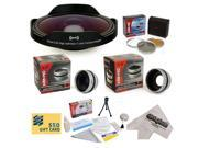 15 Piece Advanced Fisheye Lens Package or All Sony, JVC, Canon, Panasonic & Samsung camcorders that accept 37MM, 34MM, 30.5MM, 30MM & 25MM filters - Kit Include