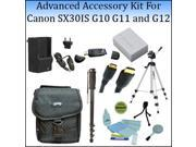 Advanced Accessory Kit For The Canon SX30IS, G10 G11 and G12 Digital Cameras With Professional Tripod, Carrying Case, Monopod, Replacement NB-7L Battery And Mor