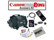 Canon 200DG Digital Camera Gadget Bag Accessory Kit with Opteka 32GB SDHC High Speed Class 10 Memory Card, Opteka RC-4 Wireless Remote Control, 6 Foot Gold Plat