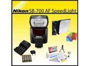Nikon SB-700 AF Speedlight Flash with Opteka SB-110 Universal Gel Studio Soft Box, 4x AA Batteries and Charger and Cleaning Kit for D40, D60, D3000, D3100,D3200
