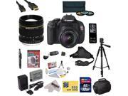 Canon EOS Rebel T3i DSLR Camera with EF-S 18-55mm f/3.5-5.6 IS STM with Opteka 85mm f/1.8 Manual Focus Telephoto Lens, 32GB SDHC Card, Battery, Charger, 3 PC Filter Kit, HDMI Cable, Gadget Bag + More
