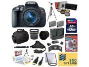 Canon EOS Rebel T5i 18.0 MP CMOS Digital Camera with EF S 18 55mm f 3.5 5.6 IS STM Zoom Lens With 32GB Memory Card 5 Piece Filter Kit Tripod Deluxe Gadget Ba