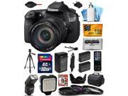 Canon EOS 60D 18 MP CMOS Digital SLR Camera with EF-S 18-200mm f/3.5-5.6 IS Lens with 32GB + Large Case + Tripod + Flash + LED Light + Two Batteries + Charger + UV-CPL-FL + $50 Gift Card 4460B016