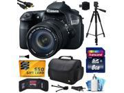 Canon EOS 60D 18 MP CMOS Digital SLR Camera with 18-135mm f/3.5-5.6 IS UD Lens with 8GB Memory + Large Case + Tripod + Card Reader + Card Wallet + HDMI Cable + Cleaning Kit + $50 Gift Card 4460B004