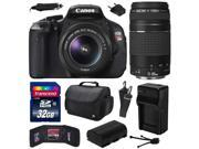 Canon EOS Rebel T3i (600D) Digital SLR Camera with EF-S 18-55mm f/3.5-5.6 IS and EF 75-300mm f/4-5.6 III Lens with 32GB Memory + Large Case + Battery + Charger + Memory Wallet + Cleaning Kit 5169B003