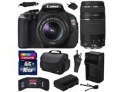 Canon EOS Rebel T3i (600D) Digital SLR Camera with EF-S 18-55mm f/3.5-5.6 IS and EF 75-300mm f/4-5.6 III Lens with 16GB Memory + Large Case + Battery + Charger + Memory Wallet + Cleaning Kit 5169B003