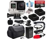 Image of GoPro HERO4 Hero 4 Black Edition 4K Action Camera Camcorder with 32GB Beginner Accessories Kit with MicroSD Card, 2x Batteries, Charger, Large Case, Grip, HDMI,