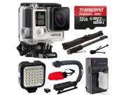 GoPro HERO4 Silver Edition 4K Action Camera with 32GB MicroSD Card, Battery with Charger, Opteka xGrip Action Video Stabilizer, Self Selfie, Night LED Light, Mini Tripod, Cleaning Kit (CHDHY-401)