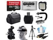 Essential Accessories Package for GoPro Hero4 Hero3+ Hero3 Hero2 Camera with 32GB Card, Case, Handlebar Clamp, Head Helmet Strap, Full Size Tripod, HDMI Cable, MoonGrip, LED Light, Cleaning Kit