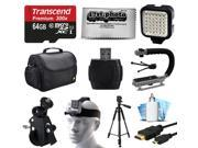 Essential Accessories Package for GoPro Hero4 Hero3+ Hero3 Hero2 Camera with 64GB Card, Case, Handlebar Clamp, Head Helmet Strap, Full Size Tripod, HDMI Cable, MoonGrip, LED Light, Cleaning Kit